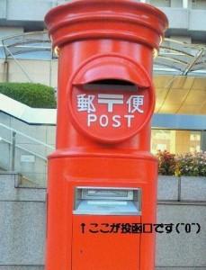 日本一の丸ポストの投函口