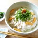 しょうが風味のぽかぽか蒸し鶏朝茶づけ 【朝食レシピ】