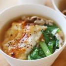 小松菜と豚肉の焼きもちコショウスープ 【時短朝食レシピ】