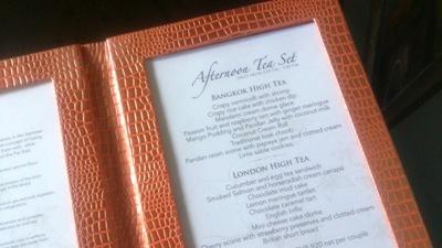 High tea menu
