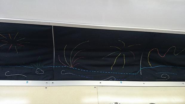 車内に飾られた流山南高校家庭科部の皆さんの手芸「流山の花火」