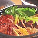 チンゲン菜と中華ハンバーグの煮込み