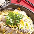 白菜とタラのパクチー蒸し焼き