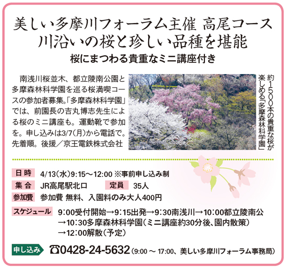 美しい多摩川フォーラム主催 高尾コース