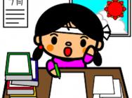 夏休み勉強中女の子