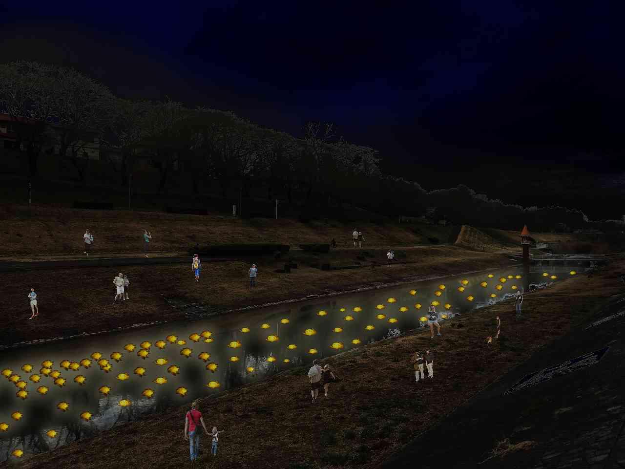 8月27日はシアターナイト、500個の灯ろうで利根運河が天の川に、光るグッズで水辺が夢舞台に