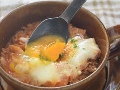 ひき肉とキャベツの煮込み 落とし卵