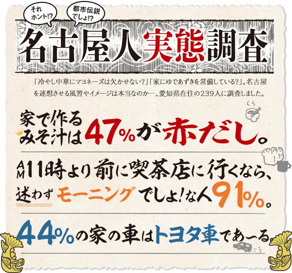 名古屋人実態調査 家で作るみそ汁は47%が赤だし。 AM11時より前に喫茶店に行くなら、迷わずモーニングでしょ!な人91%。 44%の家の車はトヨタ車であ~る。