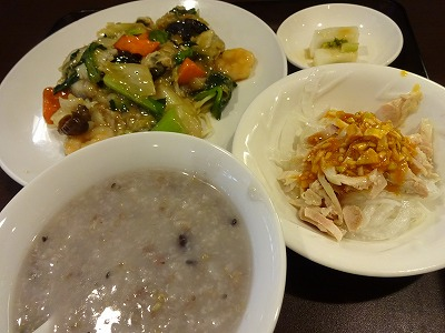 吹田江坂「中国采 老饕」の十六穀米入り粥がヘルシー♪