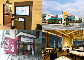左上から時計回りに大戸屋ごはん処、デニーズ、マンゴツリー東京、カフェ・ベローチェ