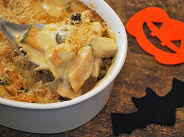 ホワイトソースもチーズも無しで作れちゃう!「ハロウィン☆かぼちゃのグラタン」