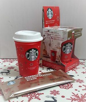 スターバックスオリガミのクリスマス柄リユーザブルカップ