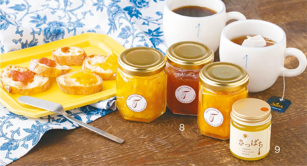 8.レモンジャム(左)、リンゴジャム(中央)、オレンジジャム、9.さっぱち蜂蜜