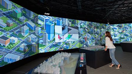 大迫力の64面ディスプレイには都市の映像イメージが広がります