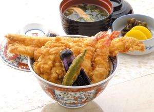 B丼(海老2尾、イカかき揚げ、穴子、野菜2点)