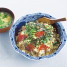 カツオの手こね寿司 カイワレ菜のかき玉汁