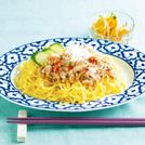 サバ缶ジャージャー麺 モヤシの中華風酢の物