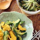 キュウリと卵の炒め物/キュウリとわかめの韓国風スープ