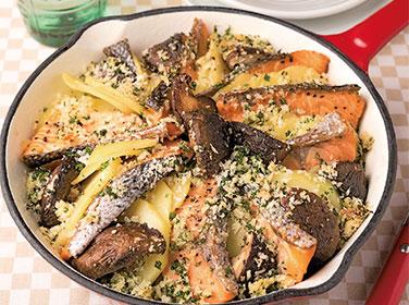 【動画付レシピ】鮭とじゃがいもの香草パン粉焼き