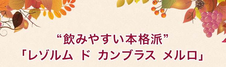 """""""飲みやすい本格派""""「レゾルム ド カンブラス メルロ」"""