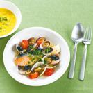 秋鮭のアクアパッツア トウモロコシとカボチャのスープ