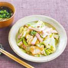 キャベツのチャンプルー もずくと豆腐のスープ