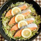 塩鮭のフライパン蒸し レモン風味