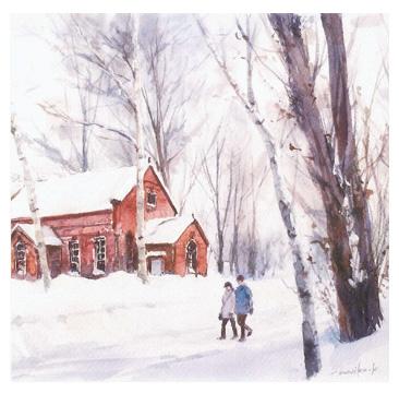 小岩万里子さんが出合った四季折々の風景が描かれた水彩画展は28日まで