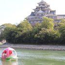 大きな桃がどんぶらこ?岡山城と後楽園の間を流れる旭川に「桃ボート」登場