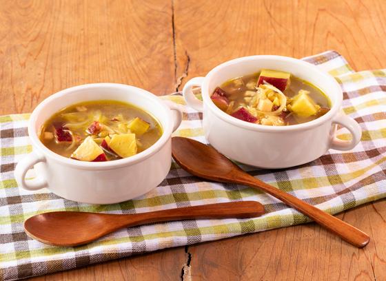 さつま芋とレンズ豆のスープ
