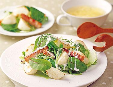 カブとベーコンのローストサラダ