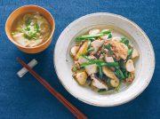 長イモとエリンギのオイスターソース炒め 包まないワンタンスープ