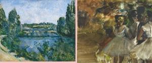 ポール・セザンヌ《ポントワーズの橋と堰》、エドガー・ドガ《舞台袖の3人の踊り子》