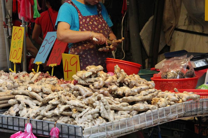 台湾の市場で売られているショウガ