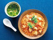 ふわふわ卵のえびチリ 鶏肉とニラのさっぱりスープ