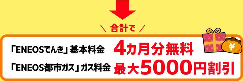 合計で「ENEOSでんき」基本料金4カ月分無料 「ENEOS都市ガス」ガス料金最大5000円割引