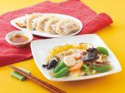 ホタテとスナップエンドウの塩焼きそば 春菊餃子