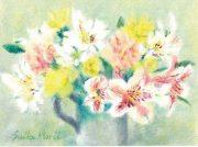 森井聖子さんが作った短歌も展示します。優しいタッチが魅力の油彩画26点を楽しんで