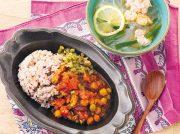 タイ風エビスープ ワラビとミックスビーンズのトマトカレー