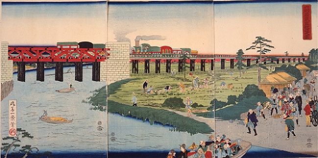 ⑬ 理六郷蒸気車鉄道之図