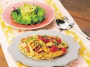 ミニトマトとゴボウのスパゲティ マグロとアボカドのタルタルサラダ