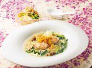 スープ仕立ての鮭しゅうまい 豆腐とささみのサラダ