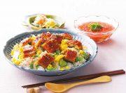 ウナギとキュウリの混ぜ寿司 おろしトマトと塩麹の冷たいスープ