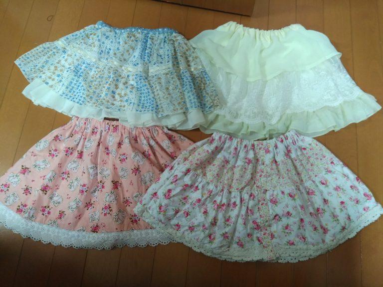 親子でおさがり♪お古のワンピースとスカートを娘用スカートにリメイク