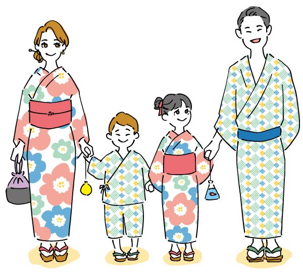 浴衣の家族