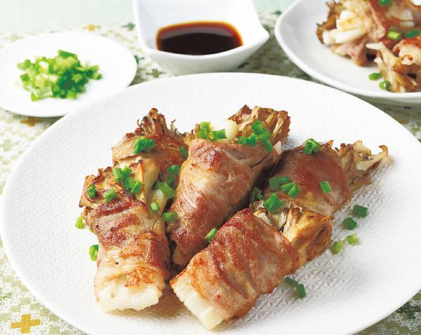 マイタケと長芋の豚肉巻き